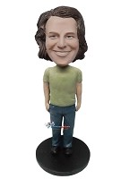 Custom Bobble Head | Male In Green T-Shirt Custom Bobblehead | Gift For Men