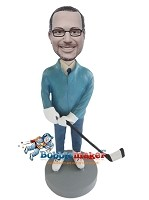 Custom Bobble Head | Man With Hockey Stick Bobblehead | Gift Ideas For Men