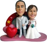 Custom Bobble Head | Bride And Groom Heart Background Bobblehead | Gift Ideas For Wedding
