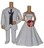 All White Wedding Couple bobblehead Doll