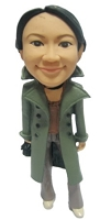 Custom Bobble Head | Female In Coat Bobblehead | Gift Ideas For Women