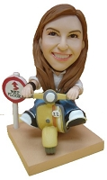 Custom Bobble Head | Scooter Riding Female Bobblehead | Gift Ideas For Women