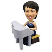Custom Bobble Head | Tiny Female Piano Player Bobblehead | Gift Ideas For Women