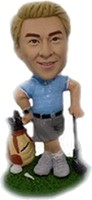 Custom Bobble Head | Leaning On Club Golfer Bobblehead | Gift Ideas For Men