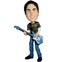 Custom Bobble Head | Strat Guitar Player Bobblehead | Gift Ideas For Men