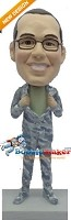Custom Bobble Head | Military Man Opening Shirt Bobblehead | Gift For Men
