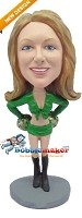 Custom Bobble Head | Cheerleader In Green Outfit Bobblehead | Gift Ideas For Women