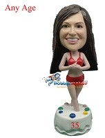 Bikini Birthday Girl bobblehead Doll