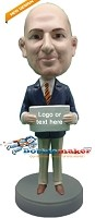 Custom Bobble Head | Office Man With Sign Bobblehead | Gift For Men