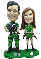 Custom Bobble Head | Military Couple With Weapons Bobblehead | Gifts for Couples
