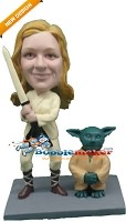 Custom Bobble Head | Female Jedi With Yoda Bobblehead | Gift Ideas For Women