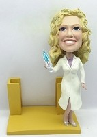 Custom Bobble Head | Female Nurse / Doctor Business Card Holder Bobblehead | Gift Ideas For Women