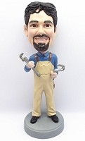 Custom Bobble Head | Male Plumber With Wrenches Bobblehead 3 | Gift Ideas For Men