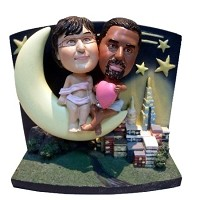 Custom Bobble Head | Over Moon Couple Bobblehead | Gift Ideas For Wedding
