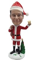 Custom Bobble Head Santa Outfit Holding Bell | Funny Christmas Gifts