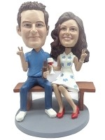 Bench Sitting Couple bobblehead Doll Peace