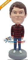 Custom Bobble Head | Flannel Shirt Male Bobblehead | Gift Ideas For Men