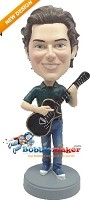 Custom Bobble Head | Black Electric Guitar Man Bobblehead | Gift For Men
