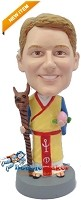 Custom Bobble Head | Chinese Suit With Dog Staff Bobblehead | Gift For Men