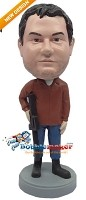 Custom Bobble Head | Man With Gun Bobblehead | Gift Ideas For Men