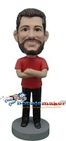Custom Bobble Head | Crossed Arms Male Bobblehead | Gift Ideas For Men