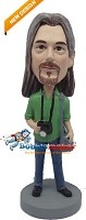 Custom Bobble Head | Green Shirt Photographer Male Bobblehead | Gift For Men