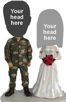 Custom Bobble Head | Military Man With Bride Couple Bobblehead | Gift Ideas For Wedding
