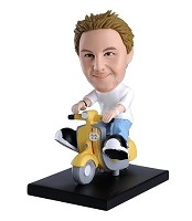 Fun Moped Riding Man bobblehead Doll
