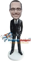 Custom Bobble Head | Hands In Pockets Suit Wearing Man Bobblehead | Gift For Men