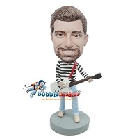 Custom Bobble Head | Man With Guitar In Striped Shirt Bobblehead | Gift For Men