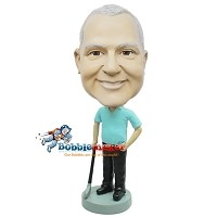 Custom Bobble Head | Golfer Standing Next To Club Bobblehead | Gift Ideas For Men