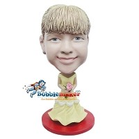 Custom Bobble Head | Yellow Dress Female Bobblehead | Gift Ideas For Women
