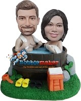 Custom Bobble Head | Couple In Hot Tub Bobblehead | Gifts for Couples