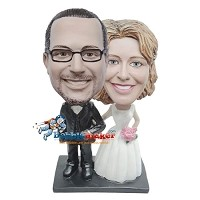 Custom Bobble Head | Bride And Groom Pink Roses Bobblehead | Gift Ideas For Wedding