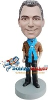 Custom Bobble Head | Casual Male Custom Bobblehead Scarf | Gift For Men