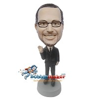Custom Bobble Head | Waving Man In Suit Bobblehead | Gift Ideas For Men