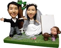 Custom Bobble Head | Wedding Couple With Monkeys Bobblehead | Gift Ideas For Wedding