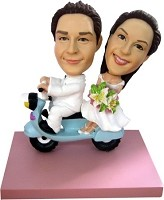 Just Married Scooter bobblehead Doll