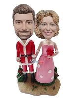 Custom Bobble Head | Christmas Wedding Couple Bobblehead | Christmas Gifts Idea