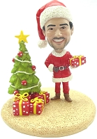 Custom Bobble Head | Santa With Tree and Presents | Gift Ideas For Men