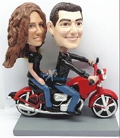 Couple On Motorcycle bobblehead Doll  2