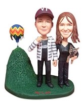 Custom Bobble Head | Couple Next To Hot Air Balloon Bobblehead | Gifts for Couples