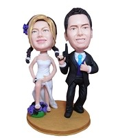 Custom Bobble Head | Spy Bride And Groom Bobblehead | Gifts for Couples