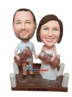 Custom Bobble Head | Couple With Puppies Bobblehead | Gifts for Couples