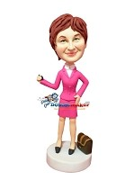 Custom Bobble Head | Professional Pink Woman With Phone Bobblehead | Gift Ideas For Women