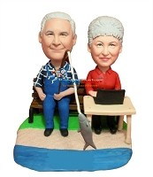 Custom Bobble Head | Man Fishes Wife Computes Bobblehead | Gifts for Couples