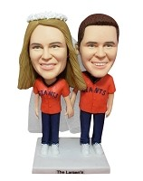 Baseball Fan Couple bobblehead Doll