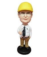 Custom Bobble Head | Contractor Man With Blueprints Bobblehead | Gift Ideas For Men