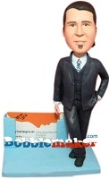 Custom Bobble Head | Businessman Card Holder Bobblehead | Gift For Men