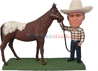 Cowboy Next To Horse bobblehead Doll